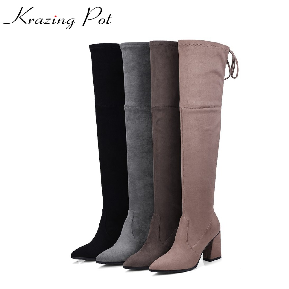 Krazing Pot sheep suede stretch long legs thigh high boots square high heels lace up bowtie hollywood over-the-knee boots L19 krazing pot flannel stretch boots winter keep warm wedges high heels leisure long legs beauty fashion over the knee boots l31