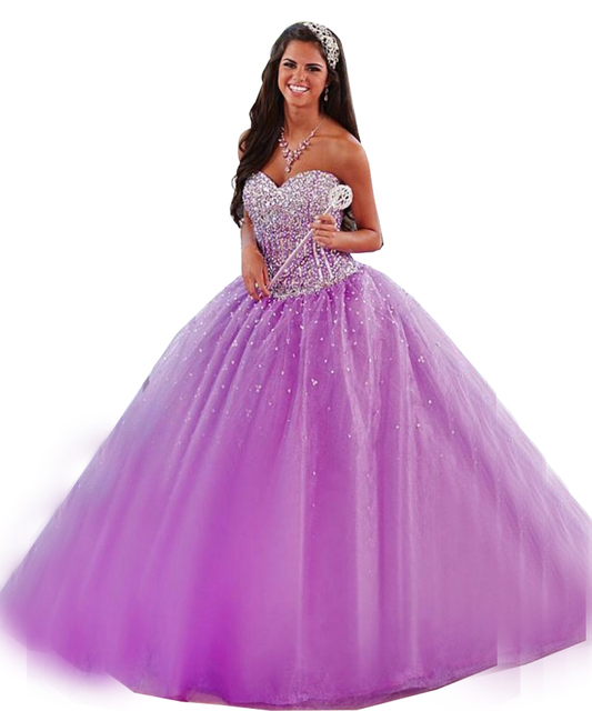 470ff210775 2017 Light Purple Quinceanera Dresses Ball Gown Luxury Sequined Sweet 16  Girl Dress Tulle Ruffles Cheap Birthday Prom Gowns