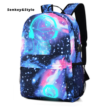 цена Senkey &Style New Male Luminous Backpack Oxford Cloth Men's Printed Backpacks Middle School Student Bags Leisure Travel Backbag онлайн в 2017 году