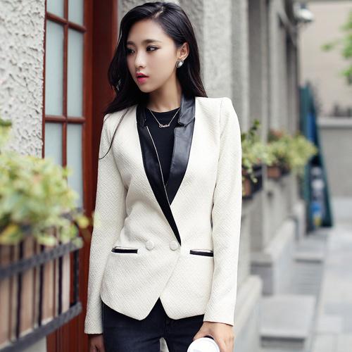 Frete grátis Plus Size Nova Moda 2017 Mulheres de Outono Menina Ocasional Design Slim Do Vintage Outwear Jaqueta de Couro Algodão Branco Básico
