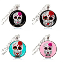 Sugar Skull Pendant Necklace Day of the Dead Jewelry Owl Stars Picture Sweater Necklace Glass Cabochon Time Animal Jewellery HZ1