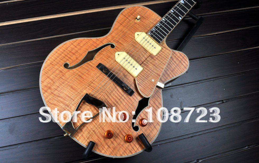Wholesale - Classical High Quality Grote Jazz Electric guitar Hollow Body With flame Maple top Free Shipping superior quality abalone flower inlaid fingerboard electric guitar maple top f hole hollow body electric guitar free shipping
