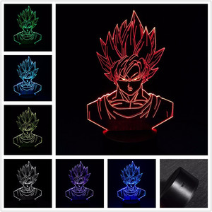 3D LED Night Light Dragon Ball Z Goku Super Saiyan Action Figure 7 Colors Touch Optical Illusion Table Lamp Home Decoration Mode(China)