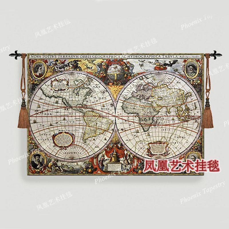 Beautiful world map tapestry wall hanging big 97 140cm decorative jacauard fabric antique decoration home textile