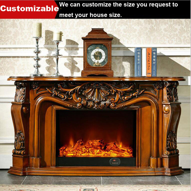 Webetop Fireplaces Decoration TV Cabinet Simulation Flame Solid Wood Base  Europe Fireplace Mantel With Electric Fireplace