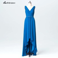 Elegant Blue Chiffon Mother Of Bride Dresses Plus Size Women Formal Evening Dress Vestido Novia