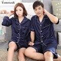 Para parejas pijamas de Seda de lujo de las mujeres Solid Cardigan Conjunto de Pijama De Seda Para Hombre Pijamas