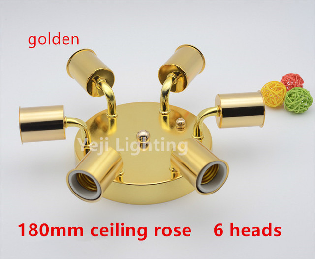 6 heads e27 ceramics porcelain lamp holders with gold iron ceiling