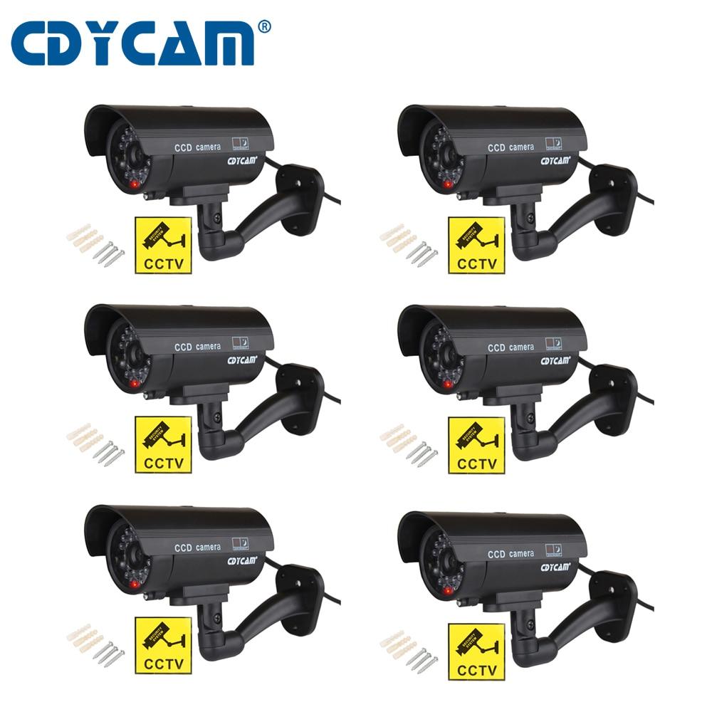 CDYCAM 6pcs 1 bag Outdoor Fake Simulation Dummy Camera CCTV Waterproof Surveillance Security Camera Flash LED