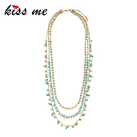 KISS ME Fashion Multilayer Blue Beads Long Necklace For Women Convertible Vintage Necklace Accessories Ethnic Jewelry