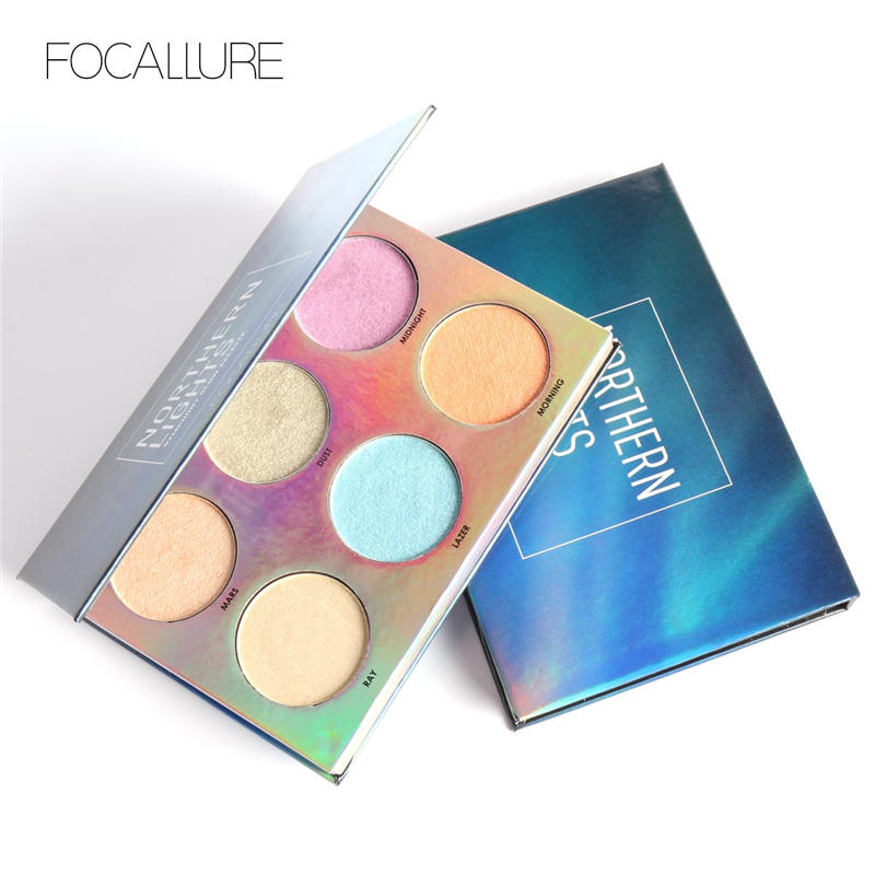Focallure 6 colores Northorn Lights Symphony Glow Palette Impermeable - Maquillaje