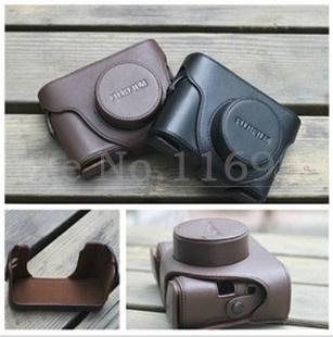 Envío libre negro café elija cuero de la cámara caso duro de la cubierta de la bolsa para fujifilm fuji finepix x10 x20 con número de seguimiento
