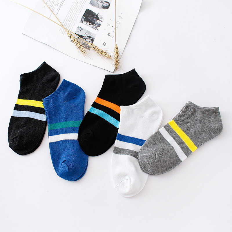 Sale 1Pair Breathable Thin Casual Men Short Socks Soft Sports Ankle Sock Striped Cotton Men Socks