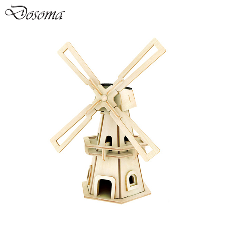 3D Puzzle Wood Windmill Model DIY Solar Power Waterwheel Building Educational Toys Wooden 3D Puzzle Architecture for Kids&Adult qiyun 3 d wooden puzzle children and adult s educational building blocks puzzle toy pig model