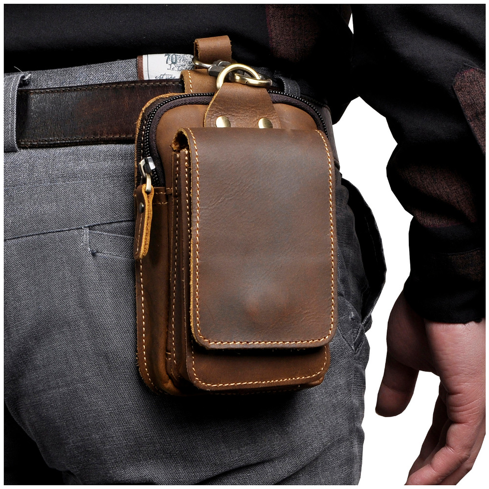 Fashion Quality Leather Small Summer Pouch Hook Design Waist Pack Bag Cigarette Case 6