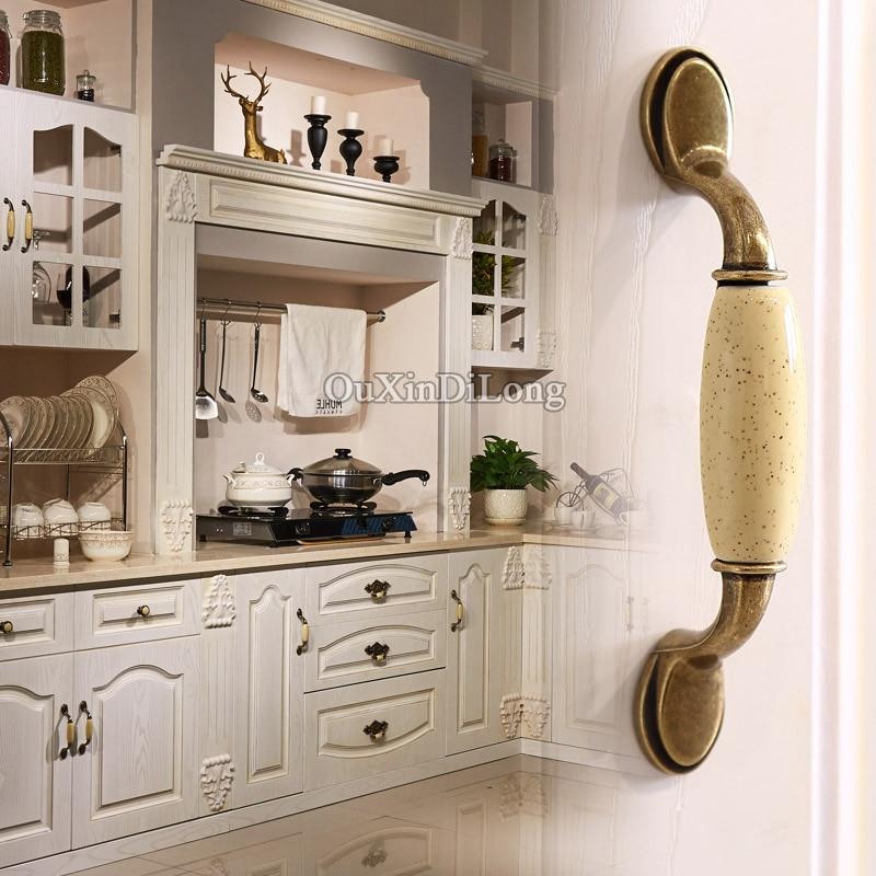 Free Shipping 2PCS European Retro Ceramic Kitchen Cabinet Door Handles Cupboard Drawer Wardrobe Cabinet Pulls Handles and Knobs in Cabinet Pulls from Home Improvement