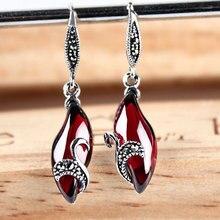 2015 new S925 retro Red corundum garnet earrings ruby White Opal Dangle Earrings Women fashion jewelry accessories wholesale
