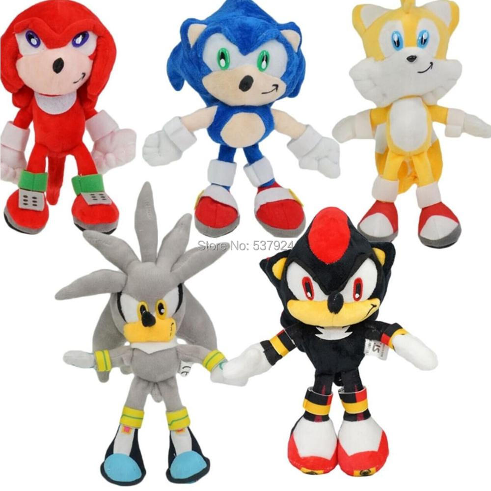 2PCS Sonic The Hedgehog Tails Sonic and Amy Rose Soft Plush Doll Christmas Gift