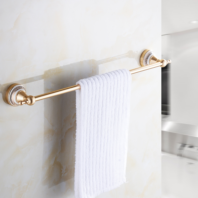 European Style Space Aluminum Towel Rack Single Pole Gold Towel Bar Bathroom Blue and White Porcelain Towel Hanging 2624 european luxury all copper and bronze towel ring towel hanging antique blue and white towel ring towel rack hanging round
