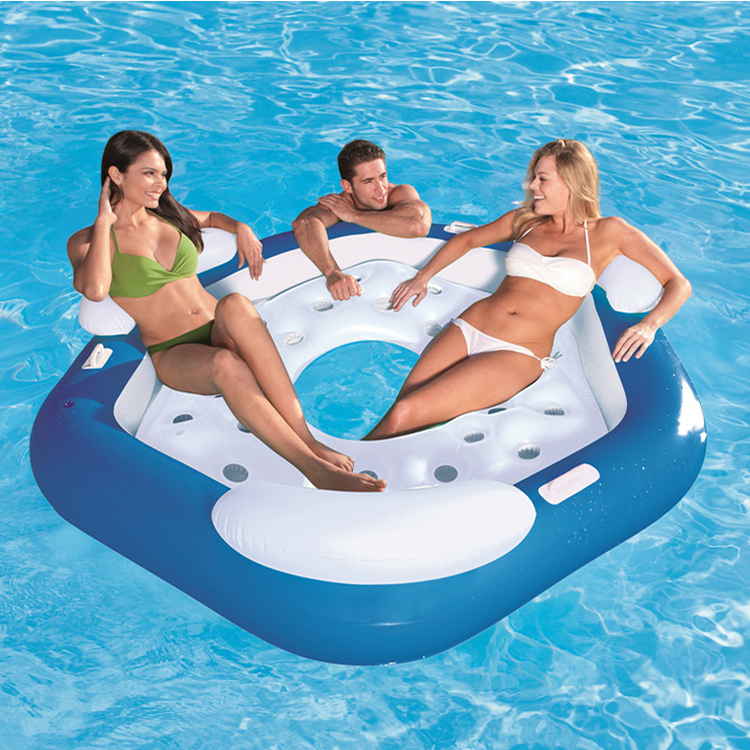 Water sports inflatable island inflatable floating island Float Seat large water toys inflatable water chair inflatable mattress funny summer inflatable water games inflatable bounce water slide with stairs and blowers
