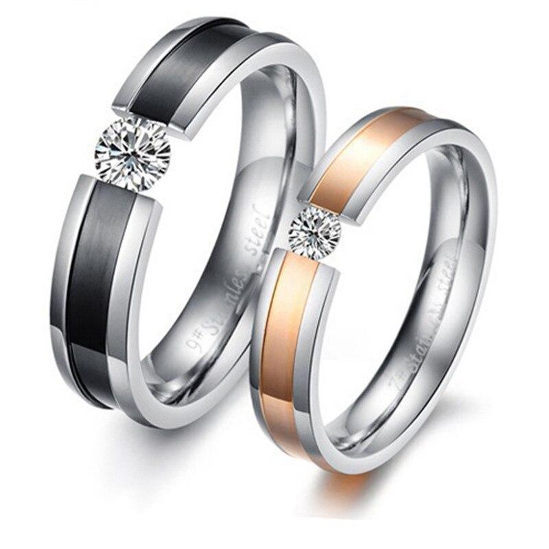 GHZTYF Новая мода Для мужчин Для женщин кольца для любителей Имитация Кристалл обручальные кольца для Для мужчин Женская пара Promise Ring