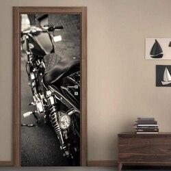 Sztuka diy kalkomania drzwi do domu motocykl 3D samoprzylepna dekoracja renowacja tapeta z pvc zdjęcie z nadrukiem do salonu w Naklejki na drzwi od Dom i ogród na