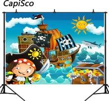 2c134c3ac Capisco Navio Pirata Tema Cena Tesouro sol mar foto fotografia fundo do  estúdio de pano de fundo Do Computador impresso das cria.
