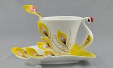 3D handbemalte keramik kreative pfau tasse, knochen porzellan kaffeetasse band löffel, Valentinstag geschenk