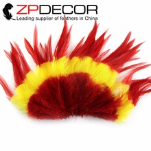 ZPDECOR New Arrival 200pieces/lot 5-6inch(12.5-15cm) Mixed Red and Yellow Dyed Rooster Saddle Feather Earrings