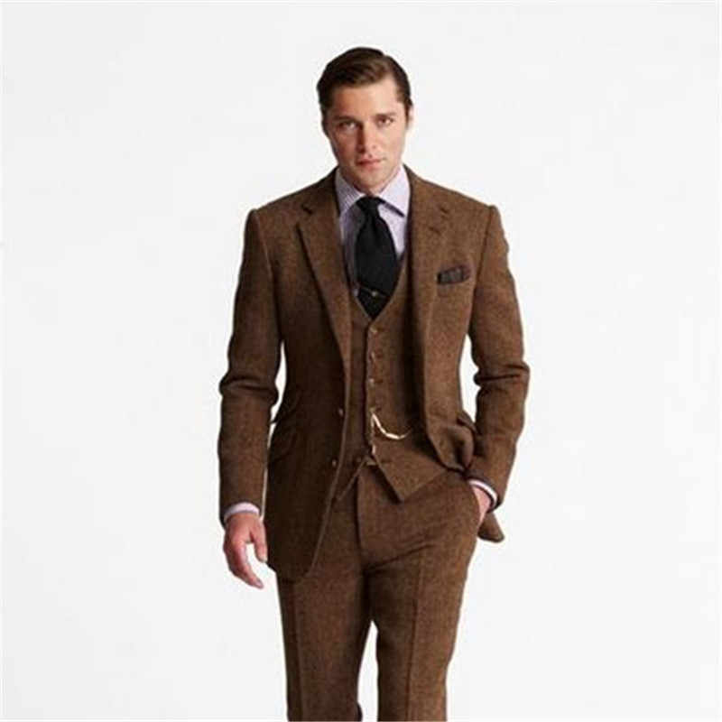 Brown Smoking Grey Tweed Men Suit Slim Fit 3 Piece(Jacket+Pant+Vest) 2020 Fashion Tailor-made Masculino Tuxedo Custome Homme