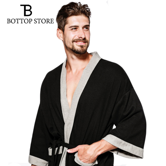598d42f12c Men s Bathrobe Cotton Man Nightgown Waffle Male Robe Bathrobe Sauna Bath  Towel Robe Dressing Gowns Pajamas Yukata Sleep Wear
