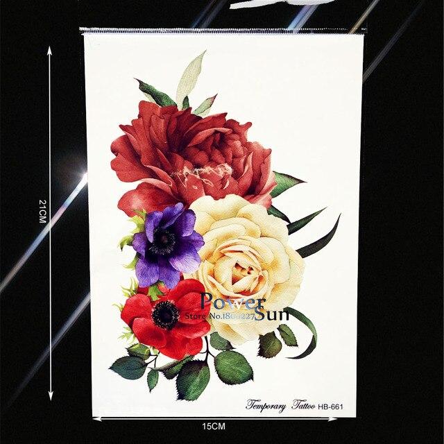 Festival Supplies Big Flower Flash Tattoo Paper Jewerly Henna Paste