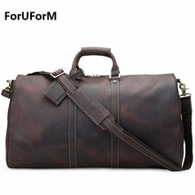 New Crazy horse genuine leather Men's Travel Bags Quality Man Travel Duffle Large Capacity Traveling Luggage Duffle Bag LI-1848