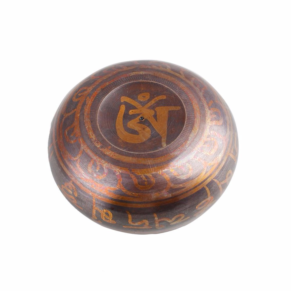 Yoga Pilates Exquisite Tibetan Brass Yoga Bowl Singing Resonance Bowl for Buddhism Meditation Healing Relaxation