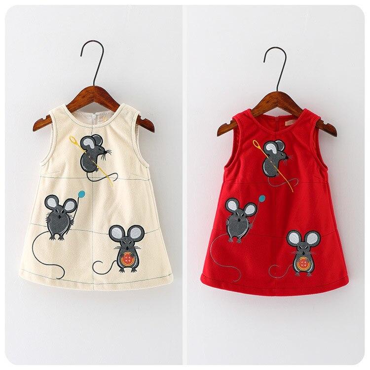Automne vêtement pour enfants coréen 2016 nouveau modèle fille bébé la petite souris robe fille Concise princesse gilet