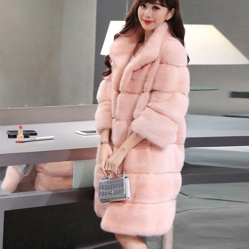 Debout Taille À Femmes Moelleux Blanc Manteau Rose Col Longues Plus Rayures Artificielle Fourrure Fausse Imitation Hiver Vison En 0TCOOw