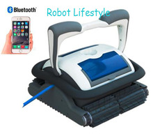 Good quality robot swimming pool cleaner with 18m cable, caddy cart,smartphone control,self-diagnostic,programmable cleaning