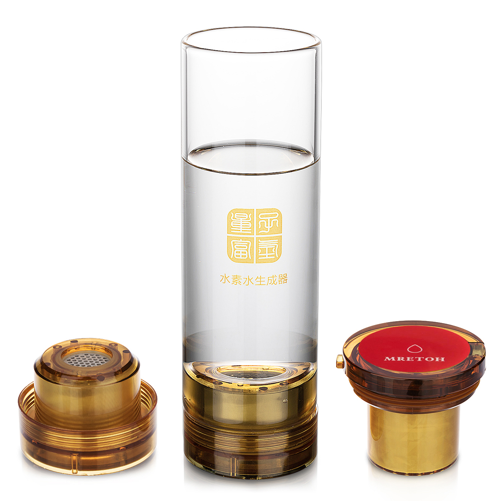 IHOOOH Manufacturer Glass implanted quantum MRETOH and Hydrogen water generator glass cup Water Ionizer USB chargeable