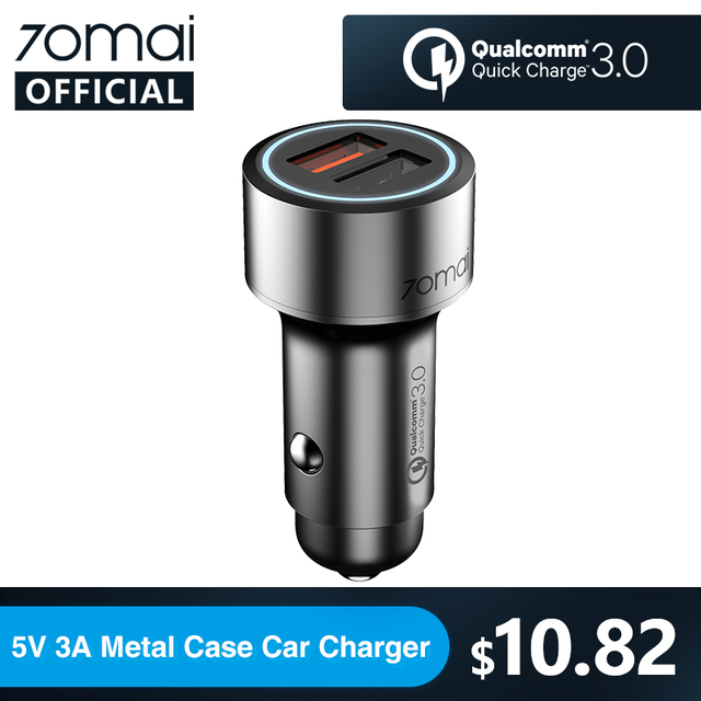 Xiaomi 70mai QC3.0 Quick charge 2USB Port Car Charger 70 mai Metal Case mini Dual USB for Xiaomi 9 for iPhone for Huawei P30