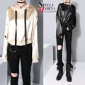 2016 Stylish Women Autumn Casual Top Champagne Color O Neck With Strings Long Sleeve Girl Tee Shirt Blusa Top Femme T-Shirt 1728