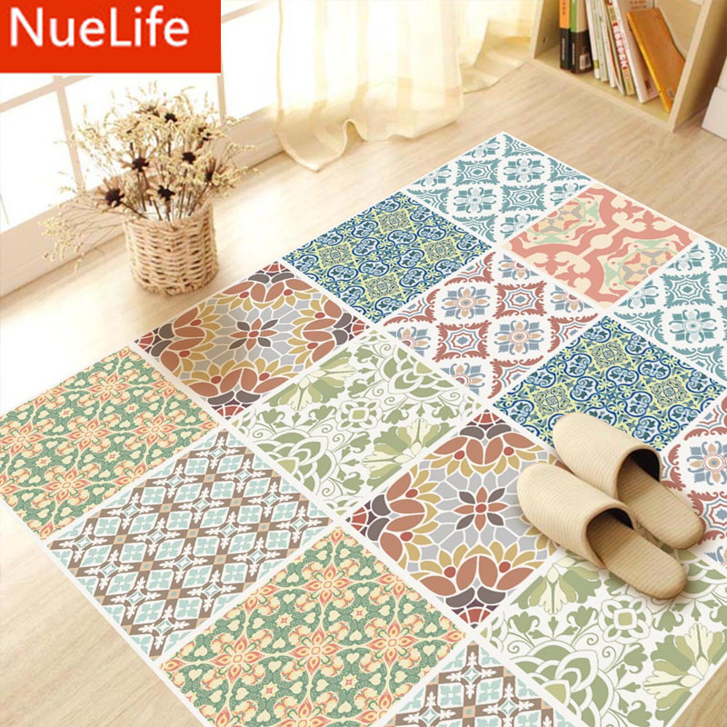 Mediterranean style color tiles, floor stickers, waterproof, non slip bathroom, <font><b>kitchen</b></font> entrance, sofa decoration floor stickers
