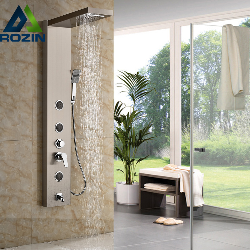 Brushed Nickel Shower Panel Shower Column Wall Mounted With Rain Waterfall Shower Head  Shower Mixer Faucet programs in aid of the poor sixth edition