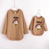 Spring Autumn 2015 Baby Girl And Mom Family Clothing Long Sleeve Family Look Mother And Daughter