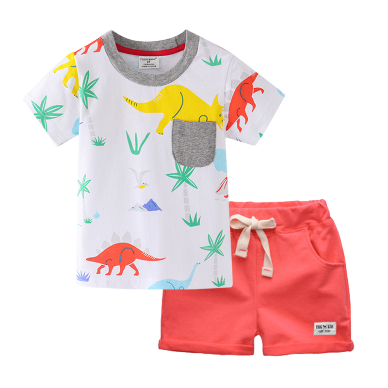 Kids boys Cartoon Elephant Dinosaur Pattern pajamas set 80-130CM cotton pyjamas
