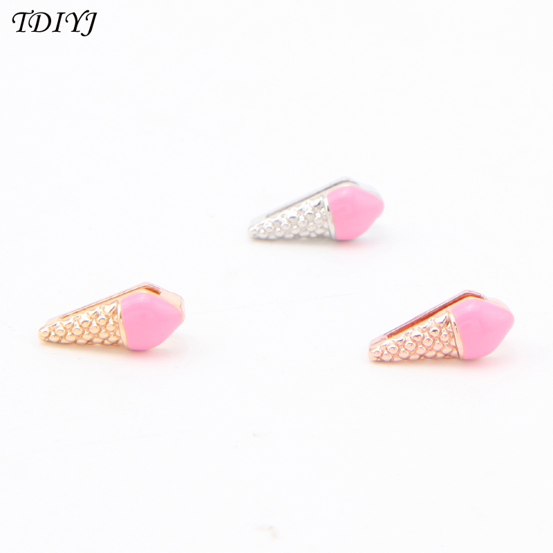 TDIYJ Jewelry 6Pcs Food Collective Pink Ice Cream Keeper Charms Slide Bead Charms for Mesh Stainless Steel Bracelet