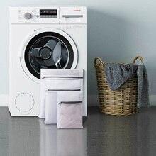 Youpin bolsa de lavanderia dobrável, 3 peças de saco de nylon para roupa íntima, roupas com zíper, rede de proteção de máquina de lavar roupas