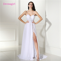 Backless Vestido De Noiva 2018 Beach Wedding Dresses A-line Chiffon Lace Slit Sexy Cheap Boho Wedding Gown Bridal Dresses
