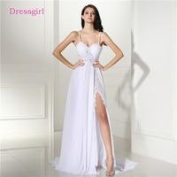 Backless Vestido De Noiva 2018 Beach Wedding Dresses A Line Chiffon Lace Slit Sexy Cheap Boho