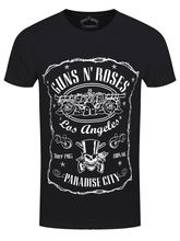 Guns N Roses Paradise City Men's Black T-shirt 100% Cotton Short Sleeve O-Neck Tops Tee Shirts Men'S T-Shirt 2018 Newest s-3xl