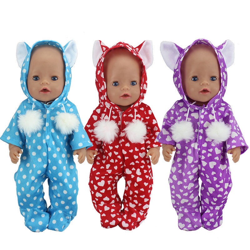 Doll hooded clothes for 18 baby doll Rompers for 43cm baby born doll coverall accessories baby girl toys american girl doll clothes superman and spider man cosplay costume doll clothes for 18 inch dolls baby doll accessories d 3